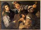Three men making music, c.1616