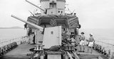 The forward 4.7-inch guns of HMS FOXHOUND, off Freetown, Sierra Leone, August 1943.
