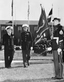 Admiral of the Fleet Sir Rhoderick McGrigor, The First Sea Lord, inspecting a US Marine Corps guard of honour at the N.A.T.O. headquarters of the Supreme Allied Commander at Norfolk, Virginia, November 1954.