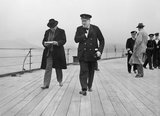 Winston Churchill and Lord Beaverbrook on HMS PRINCE OF WALES during the Atlantic Conference with President Roosevelt, August 1941.