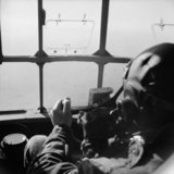 View from the cockpit of a Horsa glider during the airborne drop east of the Rhine, 25 March 1945.