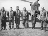 Pilots of No. 43 Squadron RAF at Wick, standing in front of one of the unit's Hawker Hurricanes, April 1940.