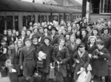A group of evacuees from Bristol arrive at Brent railway station near Kingsbridge in Devon during 1940.