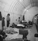 Londoners sheltering in Elephant and Castle Underground Station during the Blitz in 1940.