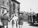 HM King George VI and Queen Elizabeth are greeted by Brigadier Frank Hunter and Major General Ira Eaker of the 8th US Army Air Forces on a visit to Duxford, 26 May 1943.