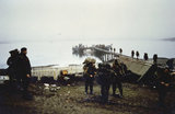 Troops of 5 Infantry Brigade come ashore at San Carlos in the Falkland Islands, 2 June 1982.