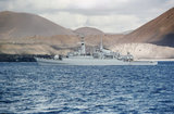 HMS ANTELOPE at Ascension Island, ten days before she was sunk by Argentine bombs in San Carlos Water in the Falklands War, May 1982.