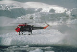 A Wasp helicopter from the Ice Patrol Ship HMS ENDURANCE touches down on pack ice during a survey operation in the Antarctic, 1980.