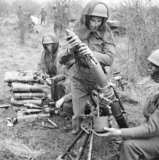 Airborne troops training with a 3-inch mortar, December 1942.