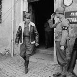 Commander of the Allied Armies in Italy, General the Hon Sir Harold Alexander, leaving Corps HQ at Anzio, 18 February 1944.