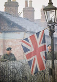 2nd Lieutenant Robin Martin and Rifleman Andy Walker of the 1st Battalion, The Royal Green Jackets, at a barricade in a street in Belfast, December 1969.