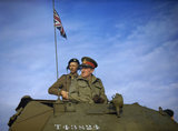 The Commander-in-Chief Home Forces, General Sir Bernard Paget, in the turret of a Crusader tank of 42nd Armoured Division during a large-scale exercise near Malton in Yorkshire, 29 September 1942.