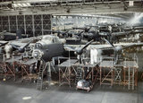 Avro Lancaster bombers nearing completion at the A V Roe & Co Ltd  factory at Woodford in Cheshire, 1943.