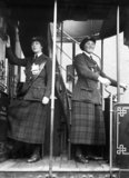 A female tram driver and conductor of the Glasgow Corporation in 1918.