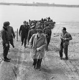 North West Europe 1944 - 1945: Churchill on the east bank of the Rhine, south of Wesel.