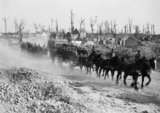 Battle of Langemarck 16-18 August: Horse drawn troop transports churning up dust near Ypres on their way up to the line, approaching the road to Polderhoek, off the Menin Road.