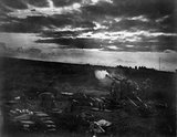A 60 pounder firing in the dawn barrage, near Moeuvres, 27 September 1918.