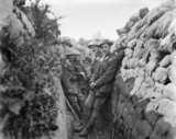 Battle of Albert. Officers of the Royal Engineers in a communication trench, 1st July 1916.