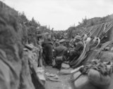 Battle of Albert. Scene in a communication trench before an attack. July 1916.