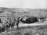 "Battle of Flers-Courcelette. ""C"" Company Mark I tank, in the Chimpanzee Valley on 15 September 1916, the day tanks first went into action."