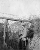 A barbed wire gate in a trench system to form a block against raiders at Cambrin, 16 September 1917.