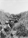 Men of the 2nd Battalion Black Watch in a trench on Brown Ridge after the action at Arsuf on 8 June 1918.