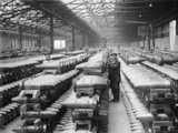 "Bond store, showing stacks of 8"" shells, Elizabethville, Co. Durham, 1918."