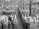 "A general view of a warehouse containing 12"" shells at the National Filling Factory, Chilwell."