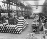 Piles of shells in a workshop in a factory operated by Sir Robert Hadfield Ltd in Sheffield during the First World War.