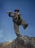 Private T Henderson with fixed bayonet, practises assault.