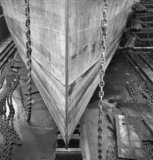 The bow of a new ship under construction, Tyneside, 1943
