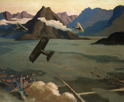 British Scouts leaving their Aerodrome on Patrol, over the Asiago Plateau, Italy, 1918