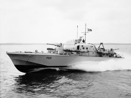 HMS BRAVE BORDERER, a fast patrol boat, during trials in the Solent, January 1960.