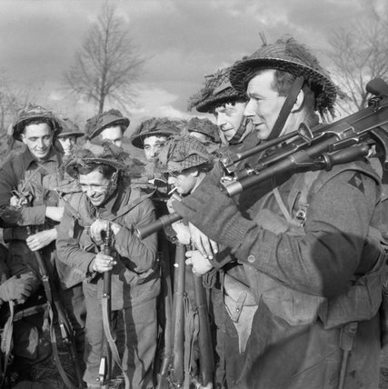 Troops of the 1st Norfolk Regiment during the advance on Wanssum, Holland, 26 November 1944.