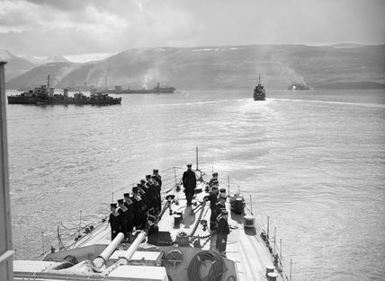 Escorts and merchant ships at Hvalfjord in Iceland before the sailing of Convoy PQ 17 to Russia, May 1942. PQ 17 was decimated by U-boats and the Luftwaffe.