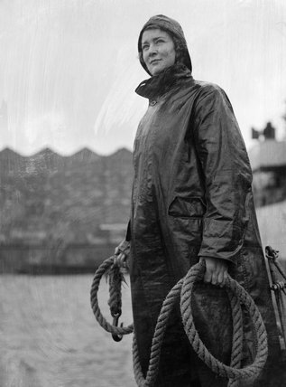 June Mortimer, a WRNS rating aboard a duty boat at Plymouth, November 1944.
