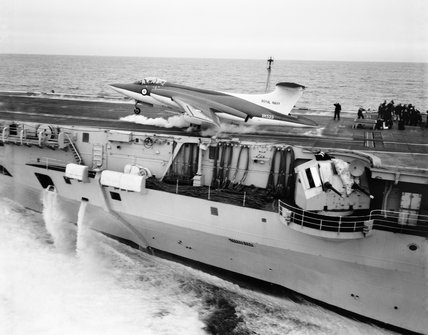 Blackburn NA-39 being catapulted off HMS VICTORIOUS during trials, February 1960.