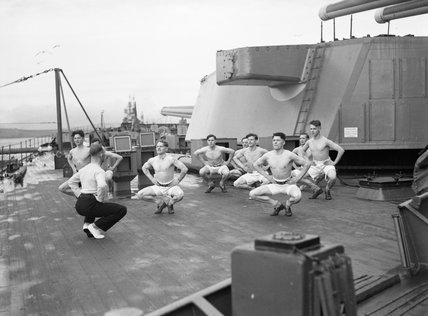 Royal Marines exercising on the foc'sle of a battleship at Scapa Flow, April 1943.