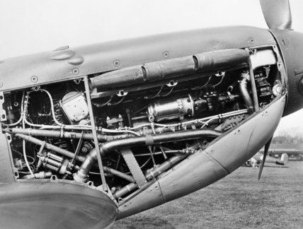 The Rolls Royce Merlin IX engine of a Spitfire Mk IIa, October 1940.