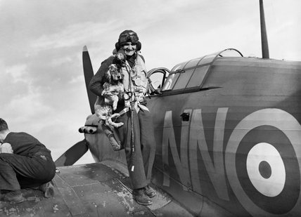 Sergeant Bohumil Furst of No. 310 (Czechoslovak) Squadron is greeted by the squadron mascot on returning to Duxford after a sortie in his Hawker Hurricane Mk I, 7 September 1940.