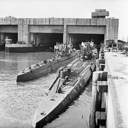 Captured German U-boats outside their pen at Trondheim in Norway, 19 May 1945.