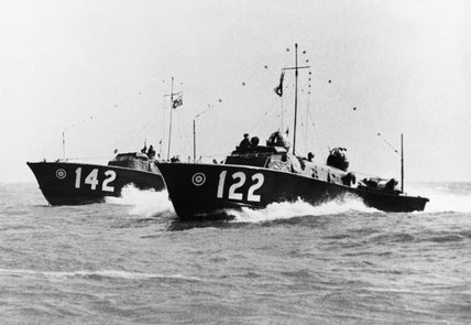 British Power Boat Company Type 2 'Whaleback' High Speed Launches of the RAF Marine Branch, at sea off  Dover, 7 April 1941.