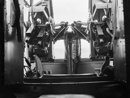 Interior of the rear gun turret of an Armstrong Whitworth Whitley Mk IV bomber of No. 10 OTU (Operational Training Unit) at Abingdon, Berkshire, July 1940.
