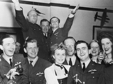 RAF officers and guests celebrating the first anniversary of the arrival of No. 92 Squadron RAF at Biggin Hill, Kent, September 1941.