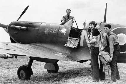 Squadron Leader N G Pedley, the CO of No. 131 Squadron RAF, about to set out on a sweep in his Supermarine Spitfire Mk VB from Merston, a satellite airfield of Tangmere in Sussex, June 1942.