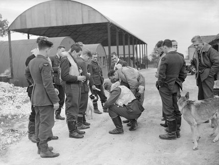 Spitfire pilots of No. 19 Squadron RAF gather at Manor Farm, Fowlmere, near Duxford in Cambridgeshire, September 1940.