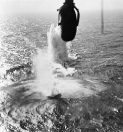 Depth charges straddling the U-boat U-266 during an attack by a Handley Page Halifax GR Mk II of No.58 Squadron in the Bay of Biscay, 15 May 1943.