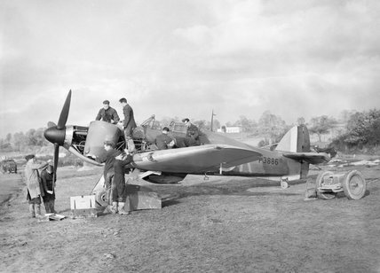 Hawker Hurricane Mk I of No. 601 Squadron RAF being serviced at dispersal at Exeter, November 1940.