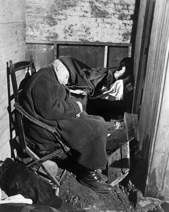 Civilians sleeping under railway arches South East London during an air-raid in 1940.