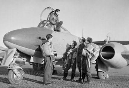Squadron Leader Dennis Barry (in cockpit) and other pilots of No. 616 Squadron RAF with a Gloster Meteor at Manston, Kent, January 1945.